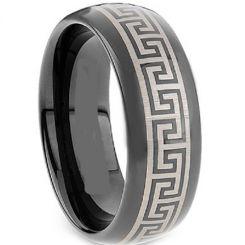 COI Black Tungsten Carbide Greek Key Dome Court Ring-TG2117