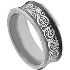 COI Tungsten Carbide Black Silver Dragon Concave Ring-TG2130