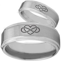 COI Tungsten Carbide Infinity Heart Step Edges Ring-TG2146