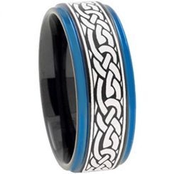 COI Titanium Black Blue Celtic Step Edges Ring-2211