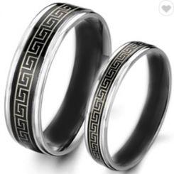 COI Tungsten Carbide Black Silver Celtic Beveled Edges Ring-2246