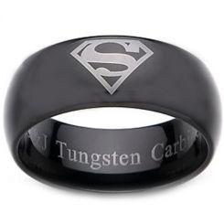 COI Black Tungsten Carbide SuperMan Dome Court Ring-TG2277