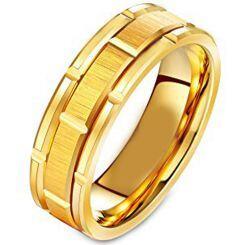 COI Gold Tone Titanium Brick Pattern Ring-231