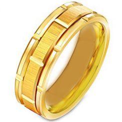*COI Gold Tone Titanium Brick Pattern Ring-231
