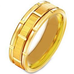 COI Gold Tone Tungsten Carbide Brick Pattern Ring-TG231