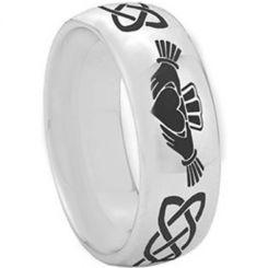 *COI Tungsten Carbide Mo Anam Cara Celtic Dome Ring-TG2346