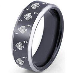 COI Titanium Black Silver Aces of Spades Beveled Edges Ring-2372