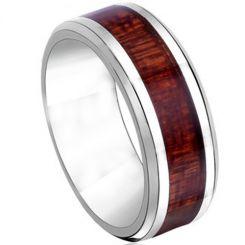COI Titanium Wood Beveled Edges Ring-JT2390