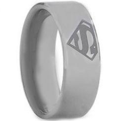 *COI Titanium Superman Pipe Cut Flat Ring-JT2400