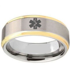 COI Tungsten Carbide Medical Alert Step Edges Ring-TG2407BB