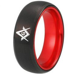 COI Tungsten Carbide Black Red Masonic Dome Court Ring-TG2434