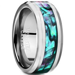 COI Tungsten Carbide Abalone Shell Beveled Edges Ring-TG2436