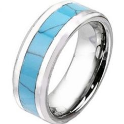 COI Titanium Beveled Edges Ring With Turquoise-2438