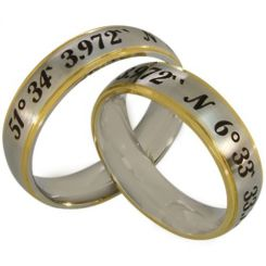 COI Tungsten Carbide Gold Silver Custom Coordinate Ring-TG2565