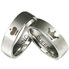 COI Tungsten Carbide King Queen Crown Pipe Cut Ring-TG2571AA