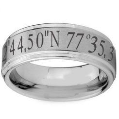COI Tungsten Carbide Custom Co-ordinate Step Edges Ring-TG2573