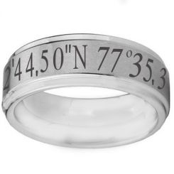 COI Tungsten Carbide Custom Co-ordinate Step Edges Ring-TG2573