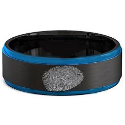 COI Tungsten Carbide Black Blue Custom Fingerprint Step Edges Ring-TG2581