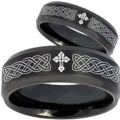 COI Black Tungsten Carbide Celtic Cross Step Edges Ring-TG2603BB