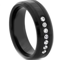 COI Black Titanium Beveled Edges Ring With Cubic Zirconia-2654