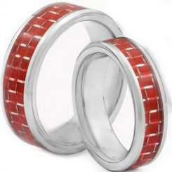 COI Tungsten Carbide Beveled Edges Ring With Carbon Fiber-TG1380