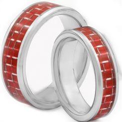 COI Titanium Beveled Edges Ring With Red Carbon Fiber-JT2719