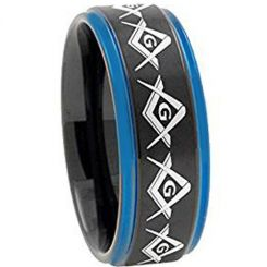 COI Tungsten Carbide Black Blue Masonic Step Edges Ring-TG2741
