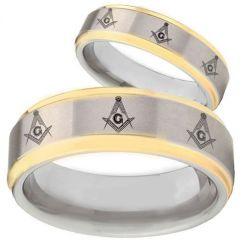 COI Tungsten Carbide Masonic Step Edges Ring-TG2743