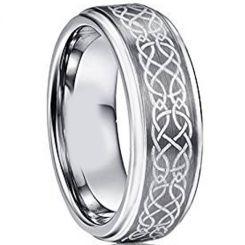 *COI Tungsten Carbide Celtic Step Edges Ring-TG2760AA