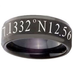 COI Black Tungsten Carbide Custom Co-ordinate Beveled Edges Ring-TG2791