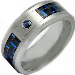 COI Titanium Carbon Fiber & Created Sapphire Ring-2802