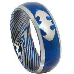 *COI Titanium Blue Silver Batman Damascus Beveled Edges Ring-281