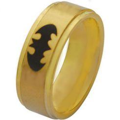*COI Gold Tone Titanium Batman Step Edges Ring-2882