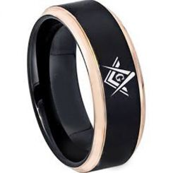 COI Tungsten Carbide Black Rose Masonic Step Edges Ring-TG2865