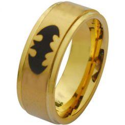 COI Gold Tone Titanium Batman Step Edges Ring-2882