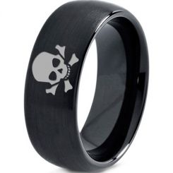 COI Black Tungsten Carbide Skull & Bones Dome Ring-TG2920