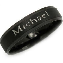 COI Black Tungsten Carbide Ring With Custom Engraving-TG2928