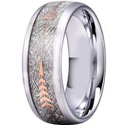 COI Titanium Meteorite Dome Court Ring With Arrow-2935