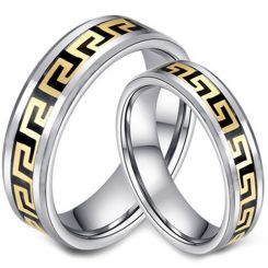 COI Tungsten Carbide Black Gold Tone Greek Key Ring-TG2956