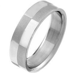 COI Tungsten Carbide Checkered Flag Pipe Cut Flat Ring-TG2969