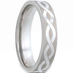 *COI Tungsten Carbide Celtic Pipe Cut Flat Ring-TG2978