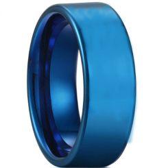 COI Blue Titanium Pipe Cut Flat Wedding Band Ring-3709