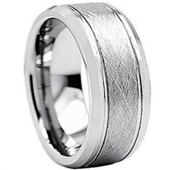 COI Tungsten Carbide Sandblasted Double Grooves Ring-TG2425AA