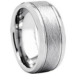 COI Titanium Sandblasted Double Grooves Ring-2996