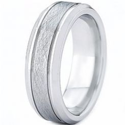 COI Titanium Sandblasted Double Grooves Ring-2996