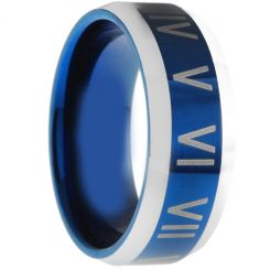 COI Tungsten Carbide Ring With Roman Numerals-TG3006AA