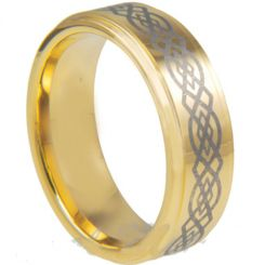 COI Gold Tone Tungsten Carbide Celtic Step Edges Ring-TG3028