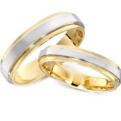 *COI Tungsten Carbide Gold Tone Silver Polished Shiny Step Edges Ring-TG3032
