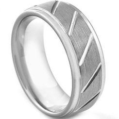 **COI Tungsten Carbide Diagonal Grooves Ring-TG3045