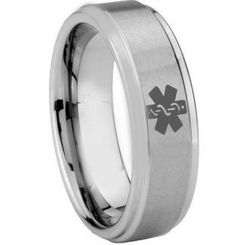 COI Tungsten Carbide Medic Alert Step Edges Ring-TG3056